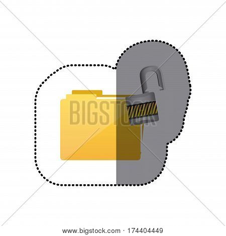 sticker colorful folder wit paclock opened vector illustration