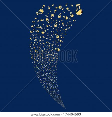 Retort random fireworks stream. Vector illustration style is flat yellow iconic symbols on a blue background. Object fountain done from scattered pictographs.