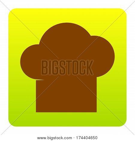 Chef cap sign. Vector. Brown icon at green-yellow gradient square with rounded corners on white background. Isolated.