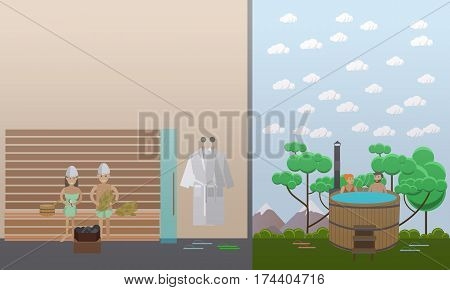 Vector illustration of clients enjoying barrel and steam sauna. Spa aqua therapy concept design element in flat style