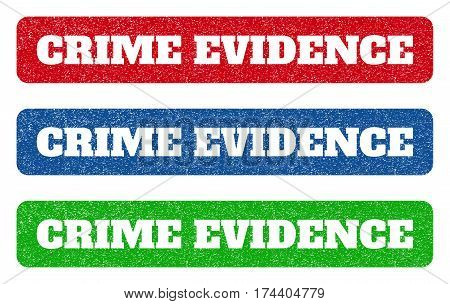 Colored rubber seal stamps with Crime Evidence text hole. Vector tag inside rounded rectangular banner. Grunge design and dirty texture for watermark labels. Blue, green, red scratched sign.