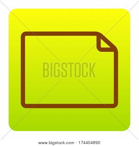 Horisontal document sign illustration. Vector. Brown icon at green-yellow gradient square with rounded corners on white background. Isolated.