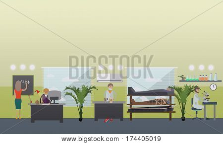Vector illustration of archaeological laboratory interior, archaeologists and lab equipment. Archaeological research concept design element in flat style.