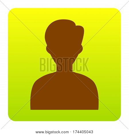 User avatar illustration. Anonymous sign. Vector. Brown icon at green-yellow gradient square with rounded corners on white background. Isolated.