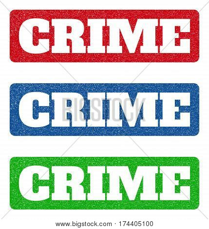 Colored rubber seal stamps with Crime text hole. Vector caption inside rounded rectangular shape. Grunge design and scratched texture for watermark labels. Blue, green, red scratched emblem.