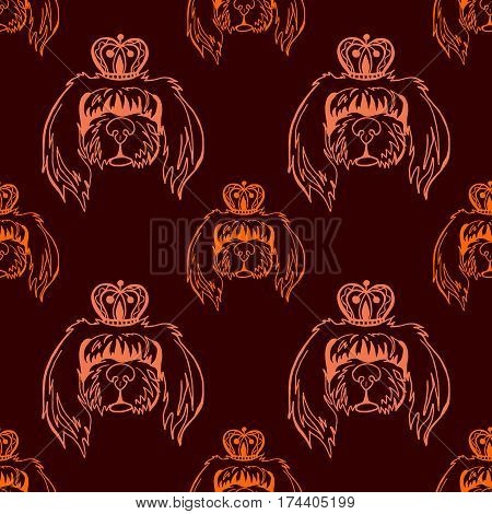 Animal seamless pattern on a dark background: Long-haired dog in the crown. Hand drawn illustration.