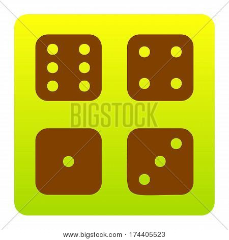 Devils bones, Ivories sign. Vector. Brown icon at green-yellow gradient square with rounded corners on white background. Isolated.