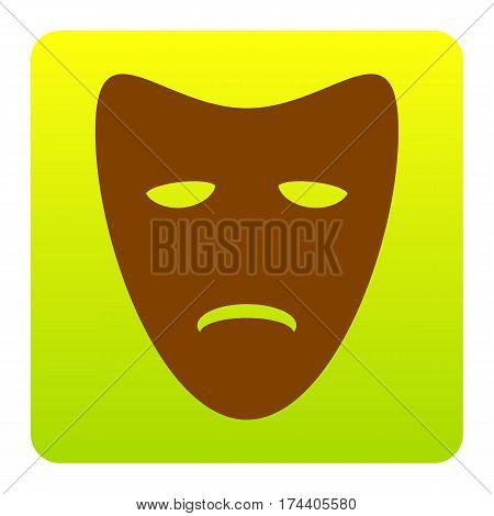 Tragedy theatrical masks. Vector. Brown icon at green-yellow gradient square with rounded corners on white background. Isolated.