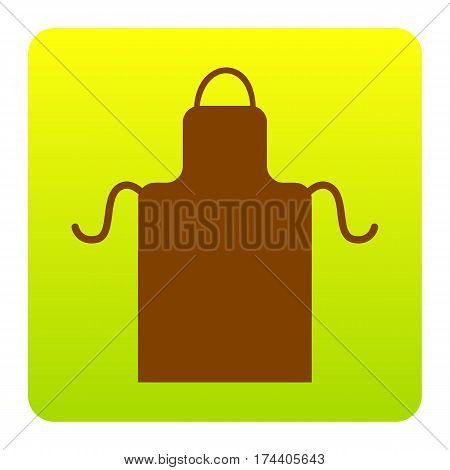 Apron simple sign. Vector. Brown icon at green-yellow gradient square with rounded corners on white background. Isolated.