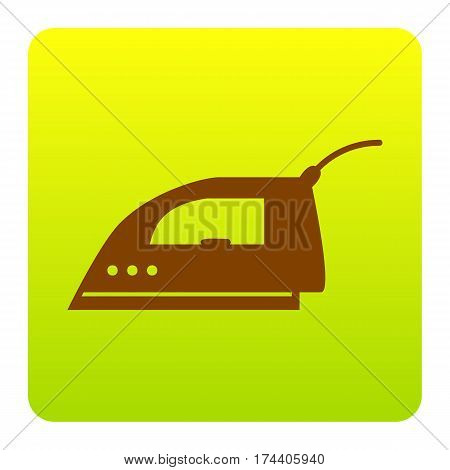 Smoothing Iron sign. Vector. Brown icon at green-yellow gradient square with rounded corners on white background. Isolated.