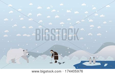 Vector illustrations of arctic landscape, eskimo man fishing, polar bear coming near him and penguins on ice. Flat style design elements.