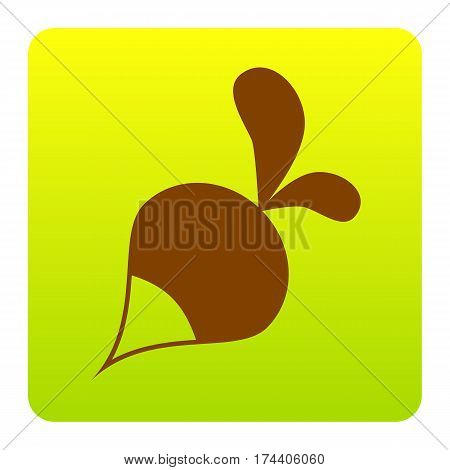 Radish simple sign. Vector. Brown icon at green-yellow gradient square with rounded corners on white background. Isolated.