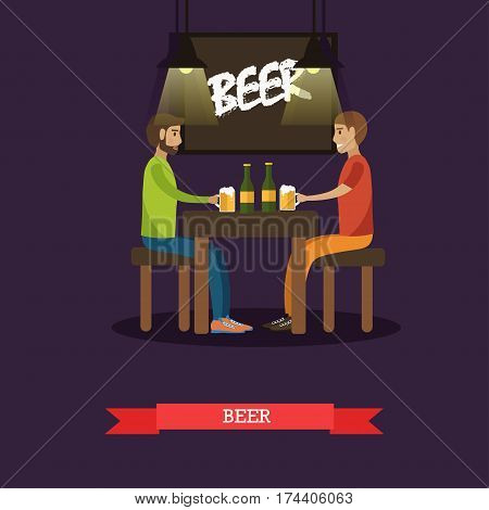 Vector illustration of two men enjoying beer in bar, pub, cafe or restaurant, flat style design elements.