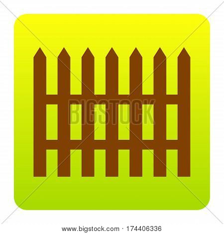 Fence simple sign. Vector. Brown icon at green-yellow gradient square with rounded corners on white background. Isolated.
