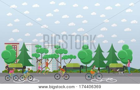 Vector illustration of young people riding bicycles in the park. Bike path concept design element in flat style.