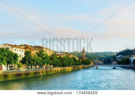 View Of The Adige River And The Ponte Nuovo In Verona, Italy