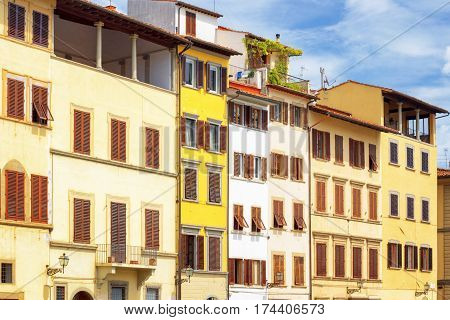 Facades Of Medieval Houses On The Piazza Santa Croce In Florence
