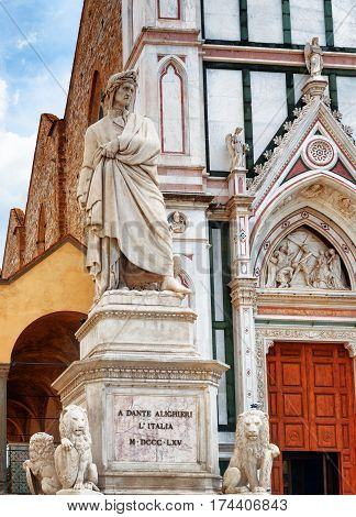 Statue Of Dante In Front Of The Basilica Santa Croce, Florence