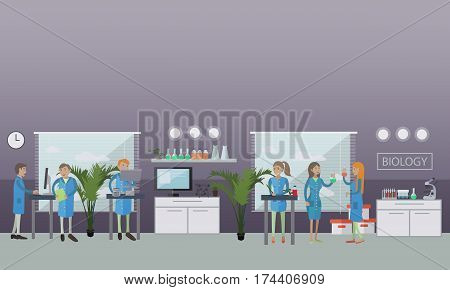 Biology concept vector illustration in flat style. Biological laboratory interior. Biologists carrying out research using laboratory glassware and equipment.