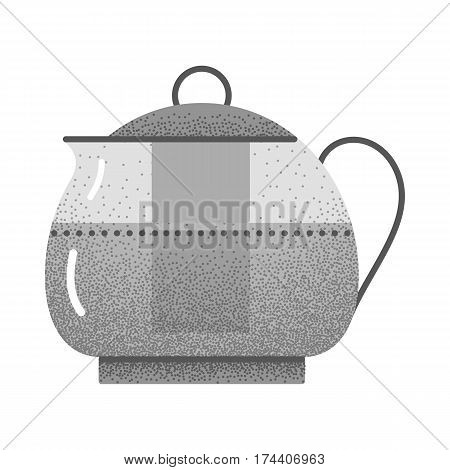 Set of black and white vintage tea icons with retro texture. Teapot logo. Vintage design. Flat tea icon. Colored vector illustration isolated on white background