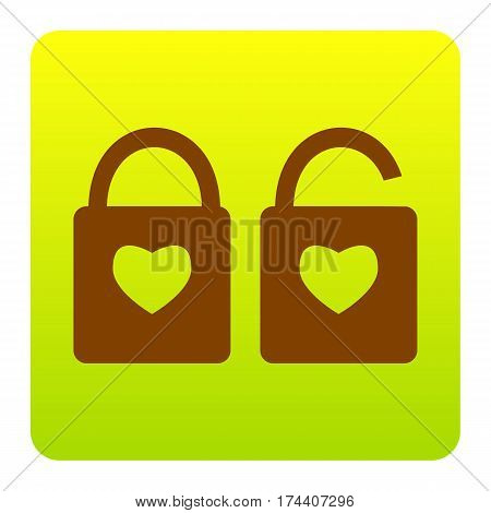 lock sign with heart shape. A simple silhouette of the lock. Shape of a heart. Vector. Brown icon at green-yellow gradient square with rounded corners on white background. Isolated.