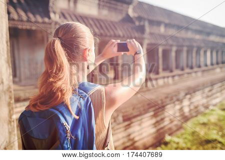 Tourist Taking Picture In The Temple Angkor Wat, Cambodia