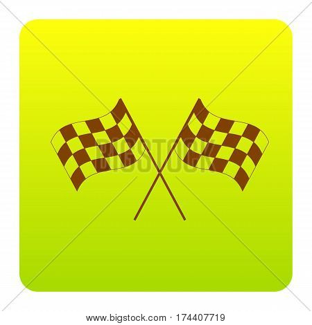Crossed checkered flags logo waving in the wind conceptual of motor sport. Vector. Brown icon at green-yellow gradient square with rounded corners on white background. Isolated.