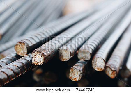 Reinforcing Steel Bar closeup, Rebar for concrete construction work