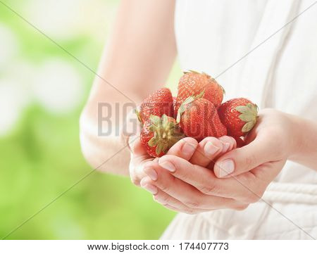 Fresh Ripe Strawberries In Hands Of Young Woman