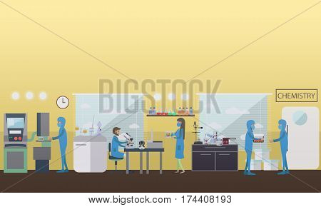 Chemistry concept vector illustration in flat style. Laboratory interior, chemists testing chemical elements using lab equipment and glassware.