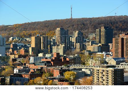 Montreal city skyline with Mont Royal at the background, Montreal, Quebec, Canada.