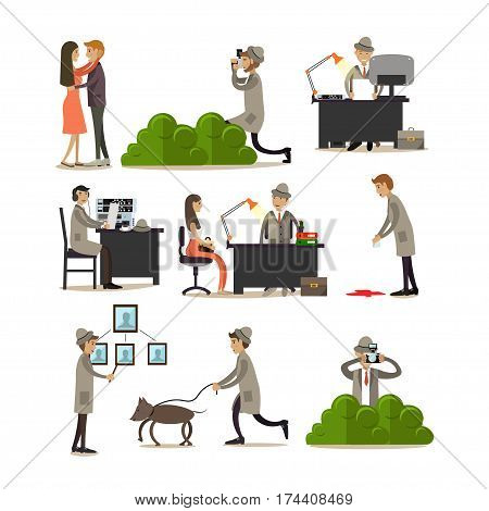 Vector icons set of detective profession characters isolated on white background. Private detective, enquiry agent working at office and outside flat style design elements.