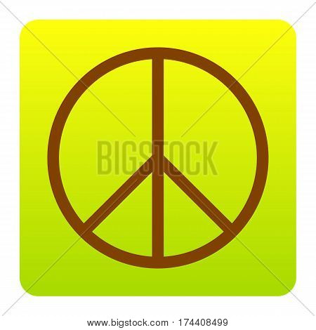 Peace sign illustration. Vector. Brown icon at green-yellow gradient square with rounded corners on white background. Isolated.