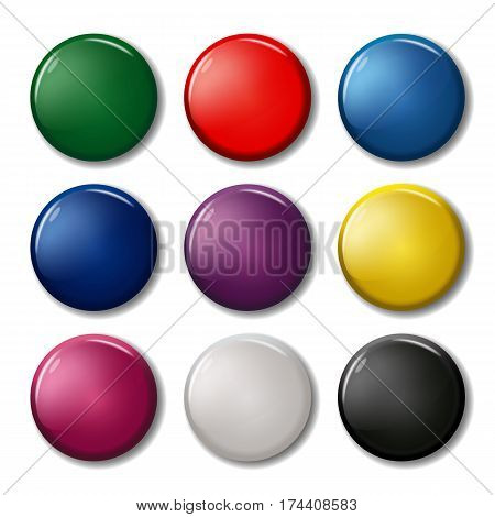 Set Of Nine Colored Round Pin Magnets (badges)