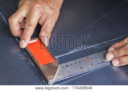 Steel framing setsquare,  Engineer Design Working Planning Concept.