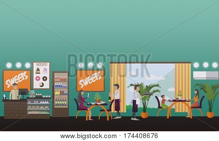 Vector illustration of barista at bar counter, waiter serving dish, people having dinner, lunch or supper. Eatery concept design element in flat style.