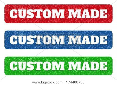 Colored rubber seal stamps with Custom Made text hole. Vector caption inside rounded rectangular shape. Grunge design and dirty texture for watermark labels. Blue, green, red scratched emblem.