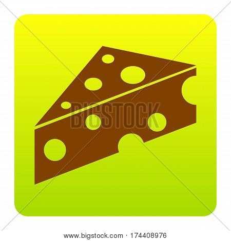 Cheese Maasdam sign. Vector. Brown icon at green-yellow gradient square with rounded corners on white background. Isolated.