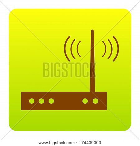 Wifi modem sign. Vector. Brown icon at green-yellow gradient square with rounded corners on white background. Isolated.