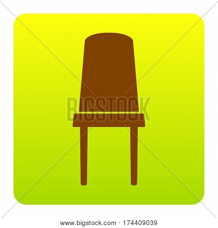 Office chair sign. Vector. Brown icon at green-yellow gradient square with rounded corners on white background. Isolated.