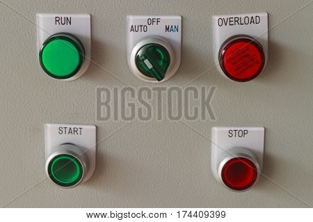 Start and stop buttons on control panel for machine control.