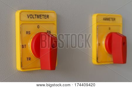 Volt meter switching button on electric control panel, Machine controller.