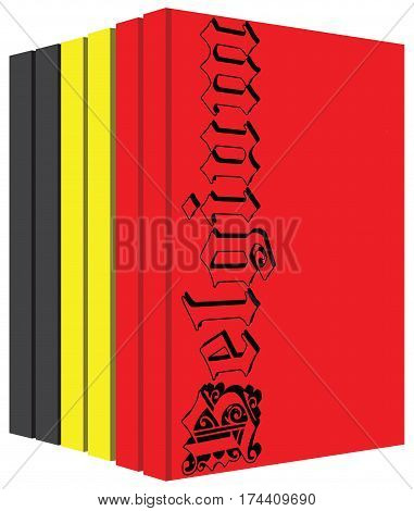 Set of books about Belgium stylized cover under the state flag of the country.