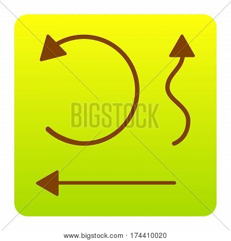 Simple set to Interface Arrows Vector. Brown icon at green-yellow gradient square with rounded corners on white background. Isolated.