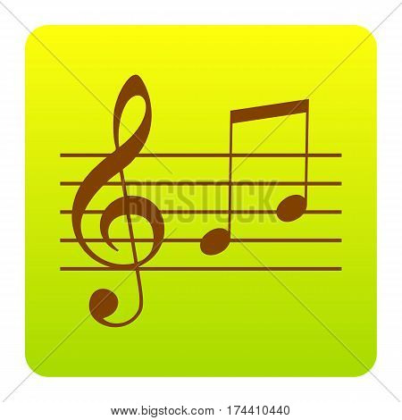 Music violin clef sign. G-clef and notes G, H. Vector. Brown icon at green-yellow gradient square with rounded corners on white background. Isolated.