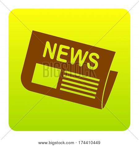 Newspaper sign. Vector. Brown icon at green-yellow gradient square with rounded corners on white background. Isolated.