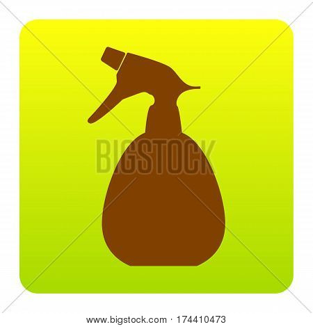 Spray bottle for cleaning sign. Vector. Brown icon at green-yellow gradient square with rounded corners on white background. Isolated.