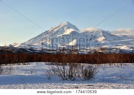 Beautiful winter volcanic landscape of Kamchatka Peninsula Russia.