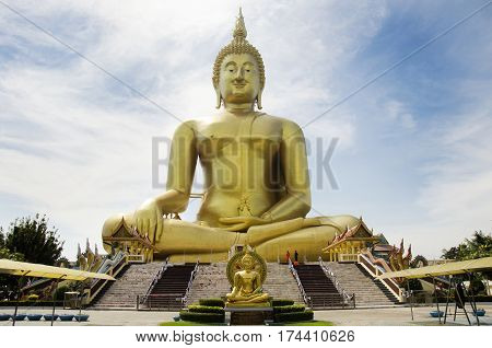 Thai People And Travelers Foreigner Visit And Pray Golden Biggest Shakyamuni Buddha Statue At Wat Mu