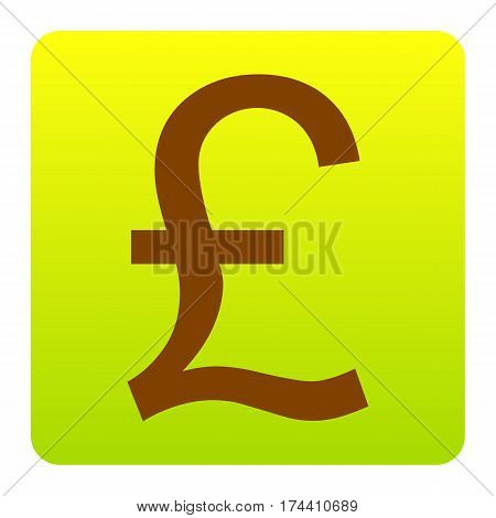 Turkish lira sign. Vector. Brown icon at green-yellow gradient square with rounded corners on white background. Isolated.